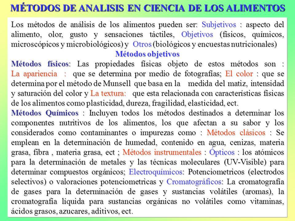 MÉTODOS DE ANALISIS EN CIENCIA DE LOS ALIMENTOS Los métodos de análisis de los alimentos pueden ser: Subjetivos : aspecto del alimento, olor, gusto y