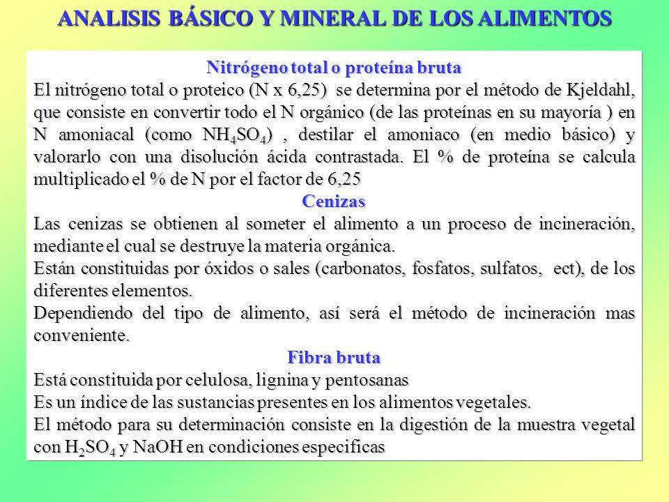ANALISIS BÁSICO Y MINERAL DE LOS ALIMENTOS Nitrógeno total o proteína bruta El nitrógeno total o proteico (N x 6,25) se determina por el método de Kje