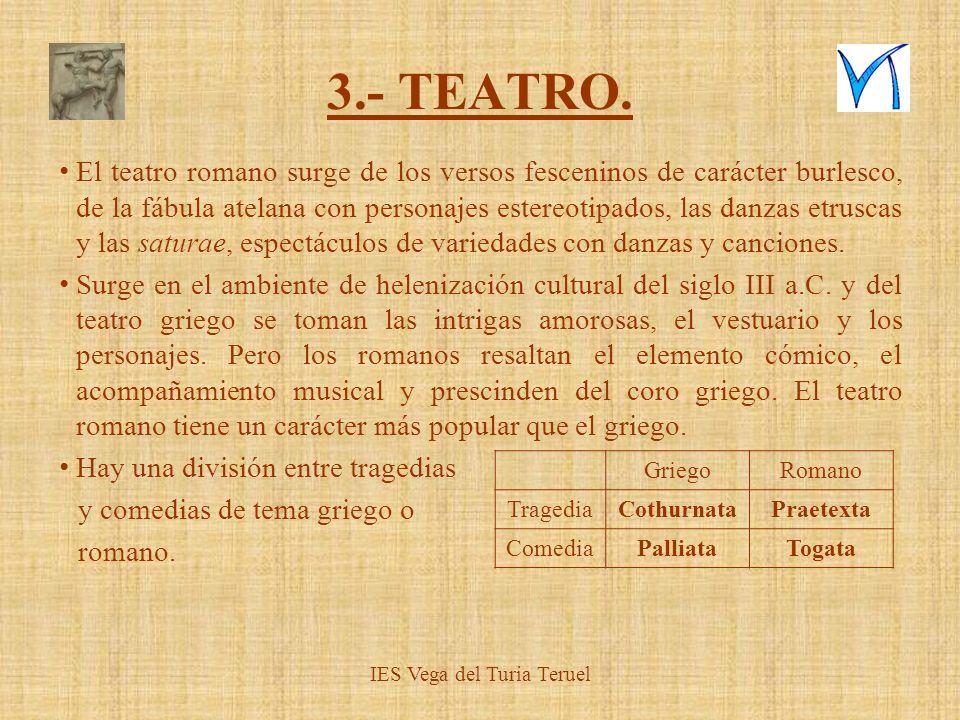 3.- TEATRO. El teatro romano surge de los versos fesceninos de carácter burlesco, de la fábula atelana con personajes estereotipados, las danzas etrus