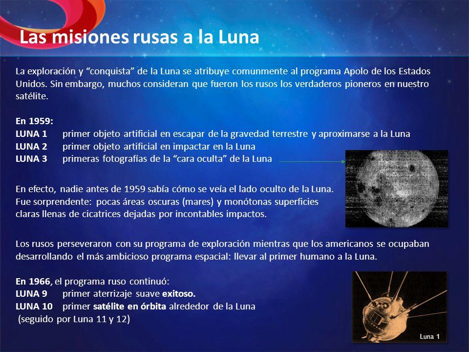 La exploración y conquista de la Luna se atribuye comunmente al programa Apolo de los Estados Unidos. Sin embargo, muchos consideran que fueron los ru