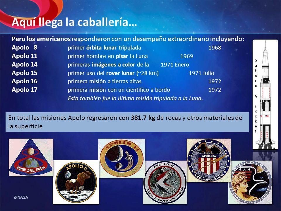 Pero los americanos respondieron con un desempeño extraordinario incluyendo: Apolo 8 primer órbita lunar tripulada1968 Apolo 11 primer hombre en pisar