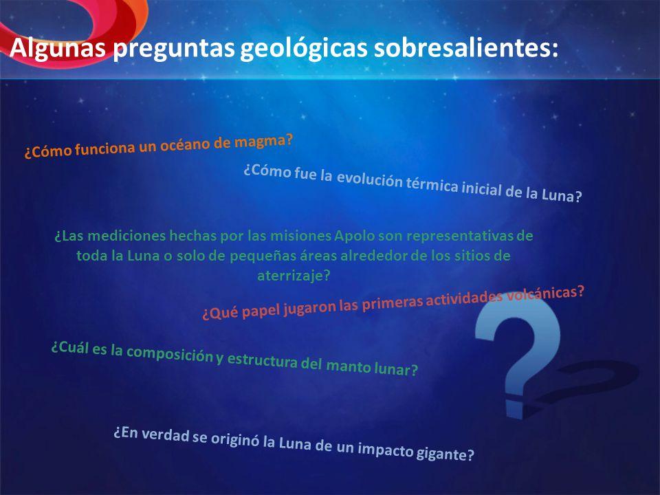 Algunas preguntas geológicas sobresalientes: ¿Cómo funciona un océano de magma? ¿Cómo fue la evolución térmica inicial de la Luna? ¿Cuál es la composi