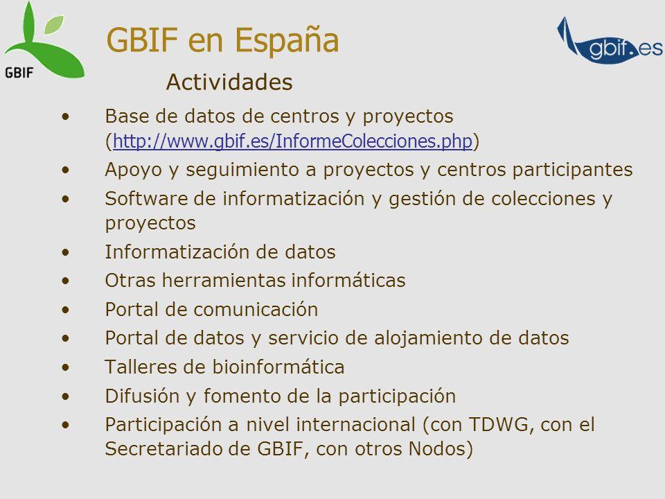 Base de datos de centros y proyectos ( http://www.gbif.es/InformeColecciones.php) http://www.gbif.es/InformeColecciones.php Apoyo y seguimiento a proy