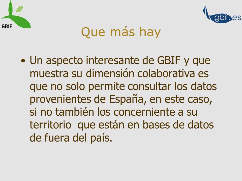 Que más hay Un aspecto interesante de GBIF y que muestra su dimensión colaborativa es que no solo permite consultar los datos provenientes de España,