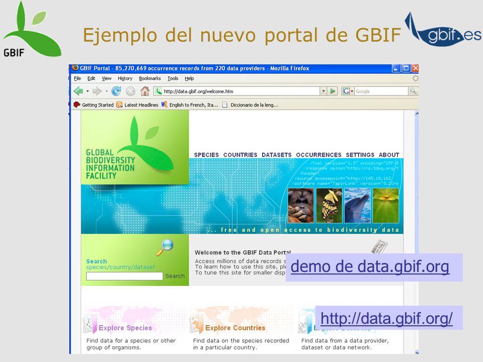 Ejemplo del nuevo portal de GBIF http://data.gbif.org/ demo de data.gbif.org