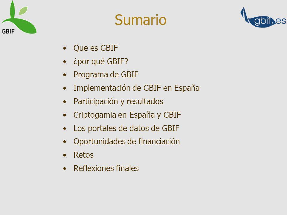 Que es GBIF ¿por qué GBIF? Programa de GBIF Implementación de GBIF en España Participación y resultados Criptogamia en España y GBIF Los portales de d