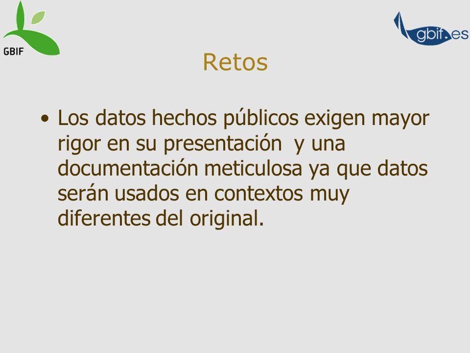 Retos Los datos hechos públicos exigen mayor rigor en su presentación y una documentación meticulosa ya que datos serán usados en contextos muy difere