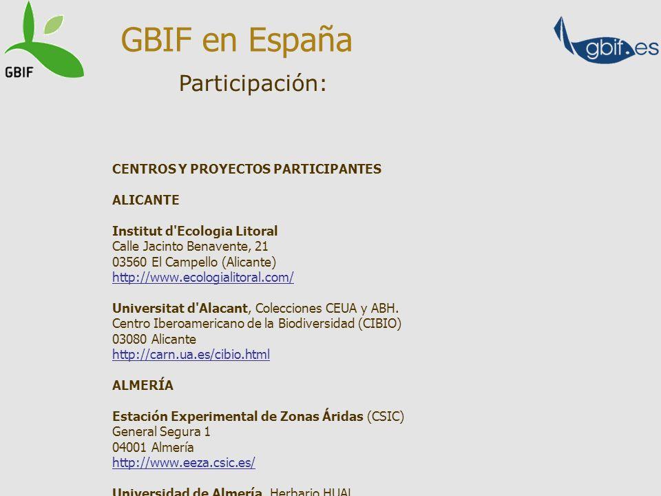 Participación: GBIF en España CENTROS Y PROYECTOS PARTICIPANTES ALICANTE Institut d'Ecologia Litoral Calle Jacinto Benavente, 21 03560 El Campello (Al