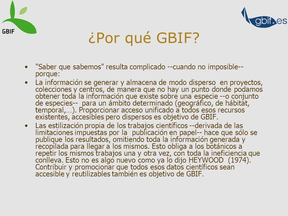 Que más hay Un aspecto interesante de GBIF y que muestra su dimensión colaborativa es que no solo permite consultar los datos provenientes de España, en este caso, si no también los concerniente a su territorio que están en bases de datos de fuera del país.