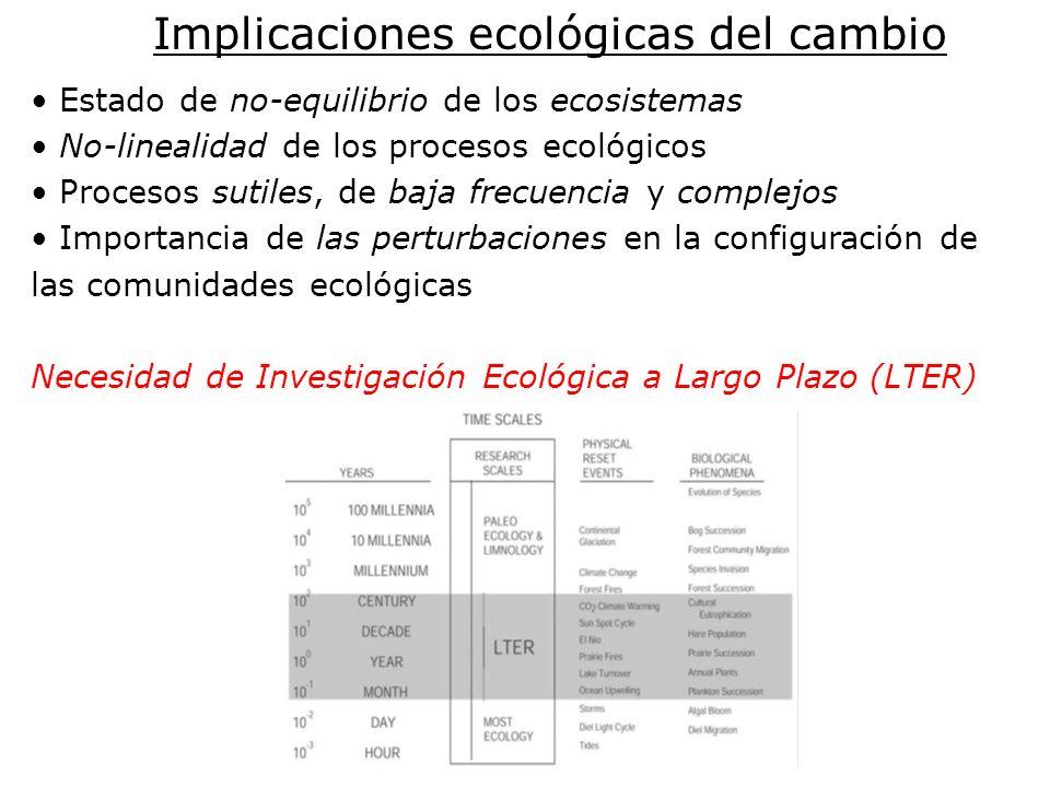 Implicaciones ecológicas del cambio Estado de no-equilibrio de los ecosistemas No-linealidad de los procesos ecológicos Procesos sutiles, de baja frecuencia y complejos Importancia de las perturbaciones en la configuración de las comunidades ecológicas Necesidad de Investigación Ecológica a Largo Plazo (LTER)