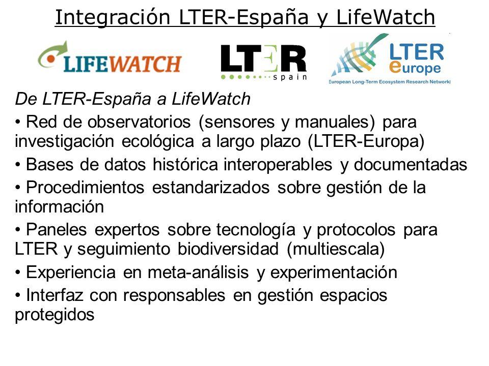 Integración LTER-España y LifeWatch De LTER-España a LifeWatch Red de observatorios (sensores y manuales) para investigación ecológica a largo plazo (LTER-Europa) Bases de datos histórica interoperables y documentadas Procedimientos estandarizados sobre gestión de la información Paneles expertos sobre tecnología y protocolos para LTER y seguimiento biodiversidad (multiescala) Experiencia en meta-análisis y experimentación Interfaz con responsables en gestión espacios protegidos