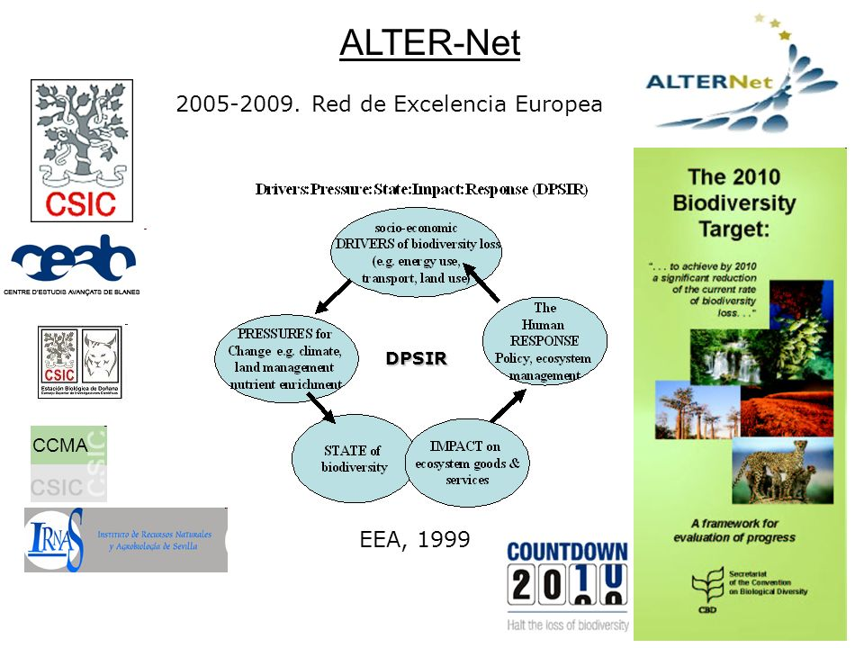 ALTER-Net CCMA 2005-2009. Red de Excelencia Europea DPSIR EEA, 1999
