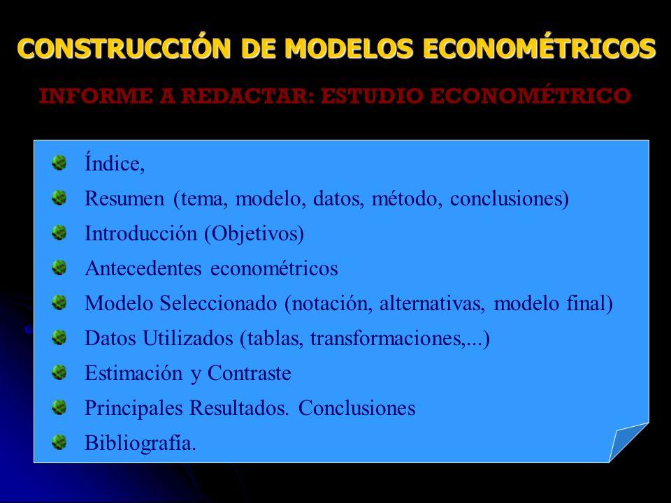 INFORME A REDACTAR: ESTUDIO ECONOMÉTRICO Índice, Resumen (tema, modelo, datos, método, conclusiones) Introducción (Objetivos) Antecedentes econométric
