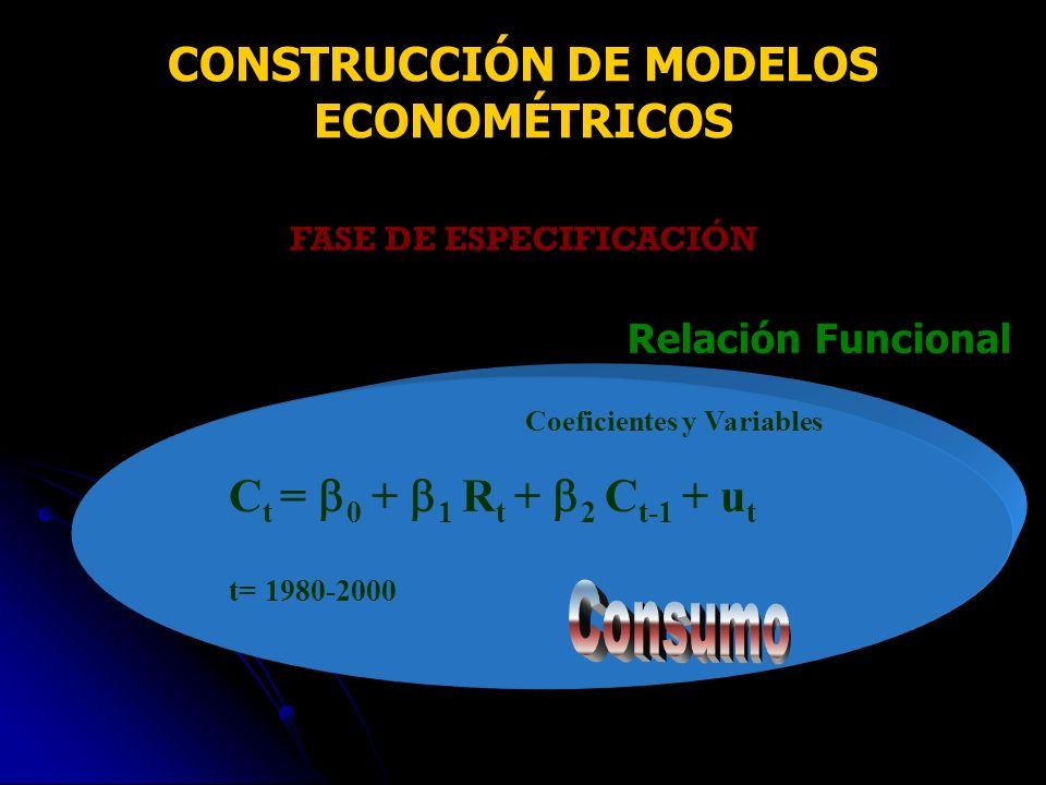 FASE DE ESPECIFICACIÓN Relación Funcional Coeficientes y Variables C t = 0 + 1 R t + 2 C t-1 + u t t= 1980-2000 CONSTRUCCIÓN DE MODELOS ECONOMÉTRICOS