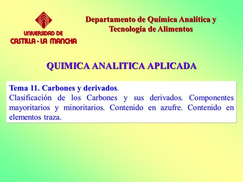 QUIMICA ANALITICA APLICADA Departamento de Química Analítica y Tecnología de Alimentos Tema 11. Carbones y derivados. Clasificación de los Carbones y