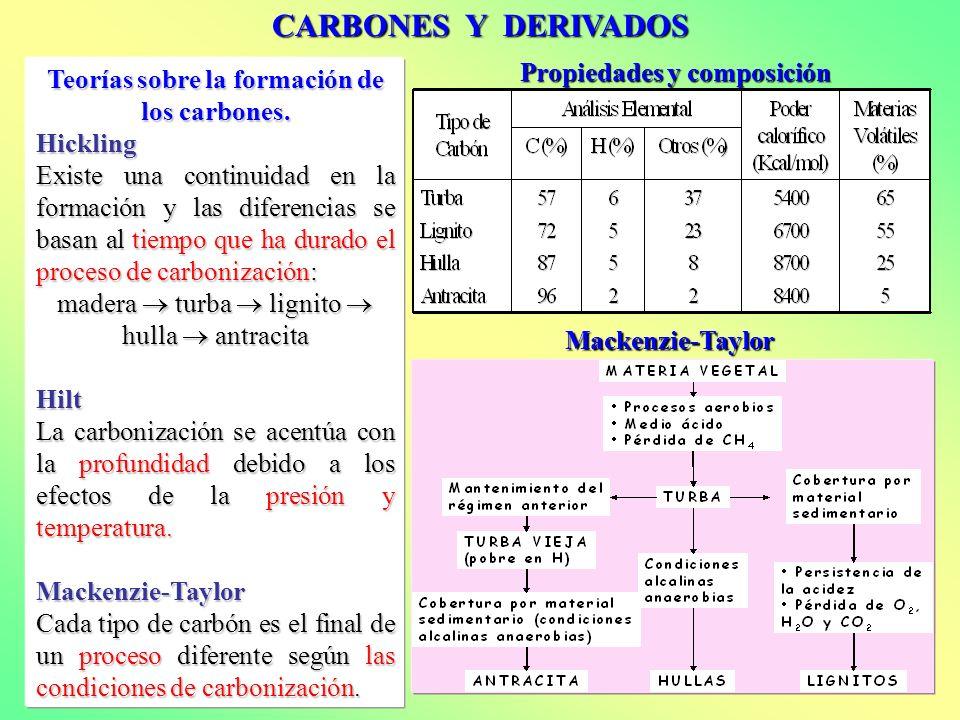 CARBONES Y DERIVADOS Teorías sobre la formación de los carbones. Hickling Existe una continuidad en la formación y las diferencias se basan al tiempo