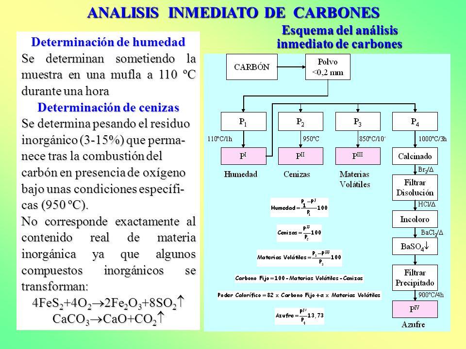 ANALISIS INMEDIATO DE CARBONES Esquema del análisis inmediato de carbones Determinación de humedad Se determinan sometiendo la muestra en una mufla a
