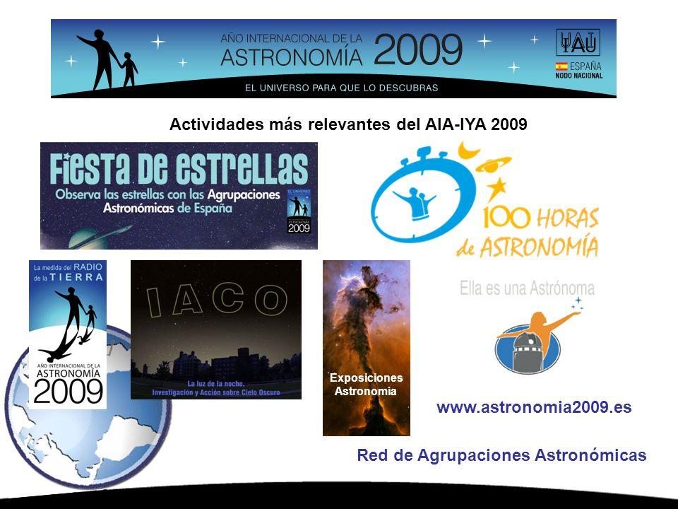 www.astronomia2009.es Red de Agrupaciones Astronómicas Exposiciones Astronomía Actividades más relevantes del AIA-IYA 2009