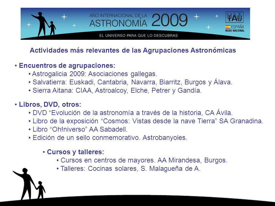 Actividades más relevantes de las Agrupaciones Astronómicas Encuentros de agrupaciones: Astrogalicia 2009: Asociaciones gallegas. Salvatierra: Euskadi