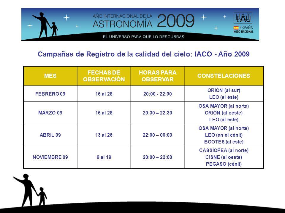 Campañas de Registro de la calidad del cielo: IACO - Año 2009 MES FECHAS DE OBSERVACIÓN HORAS PARA OBSERVAR CONSTELACIONES FEBRERO 0916 al 2820:00 - 22:00 ORIÓN (al sur) LEO (al este) MARZO 0916 al 2820:30 – 22:30 OSA MAYOR (al norte) ORIÓN (al oeste) LEO (al este) ABRIL 0913 al 2622:00 – 00:00 OSA MAYOR (al norte) LEO (en el cénit) BOOTES (al este) NOVIEMBRE 099 al 1920:00 – 22:00 CASSIOPEA (al norte) CISNE (al oeste) PEGASO (cénit)