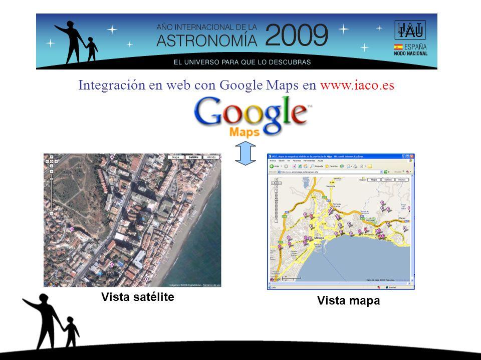 Integración en web con Google Maps en www.iaco.es Vista satélite Vista mapa