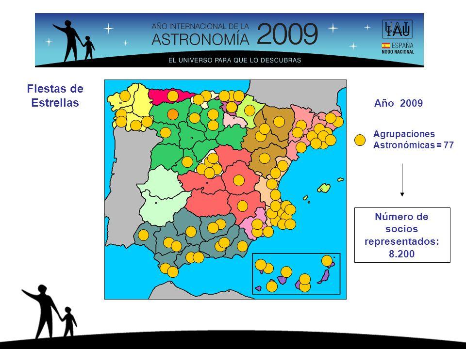 Agrupaciones Astronómicas = 77 Número de socios representados: 8.200 Año 2009 Fiestas de Estrellas