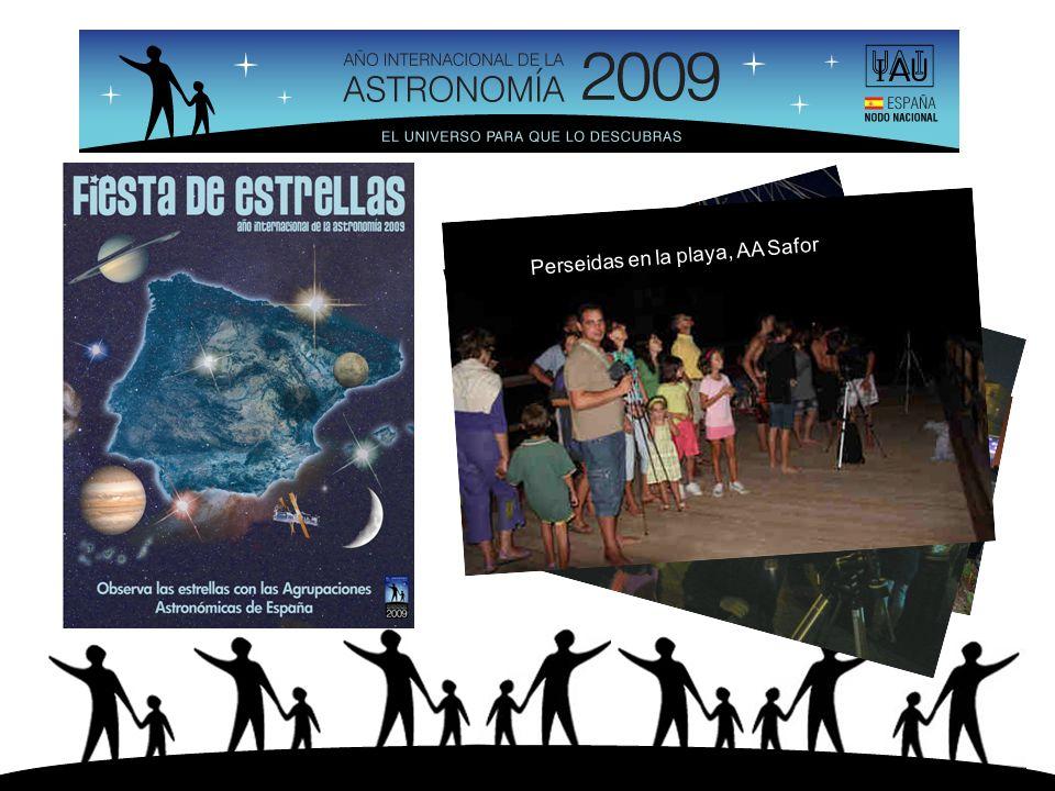 La Goleta, Astrosantander Observatorios, AAR Murcia Parque tecnológico, AA Huesca Plaza de la Marina, Málaga, SMA Perseidas en la playa, AA Safor