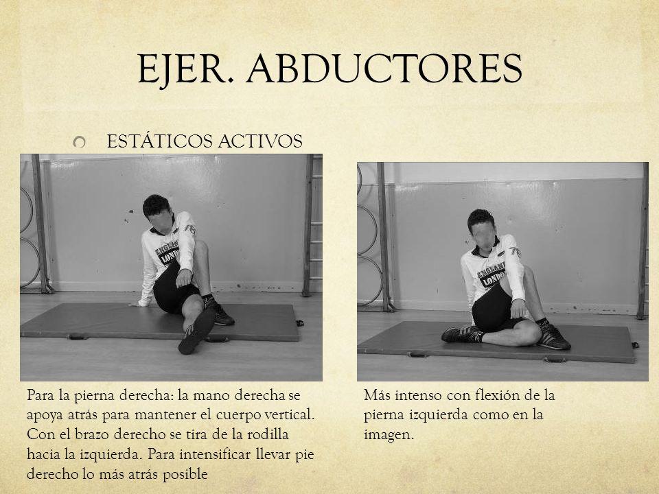 EJER. ABDUCTORES ESTÁTICOS ACTIVOS Para la pierna derecha: la mano derecha se apoya atrás para mantener el cuerpo vertical. Con el brazo derecho se ti