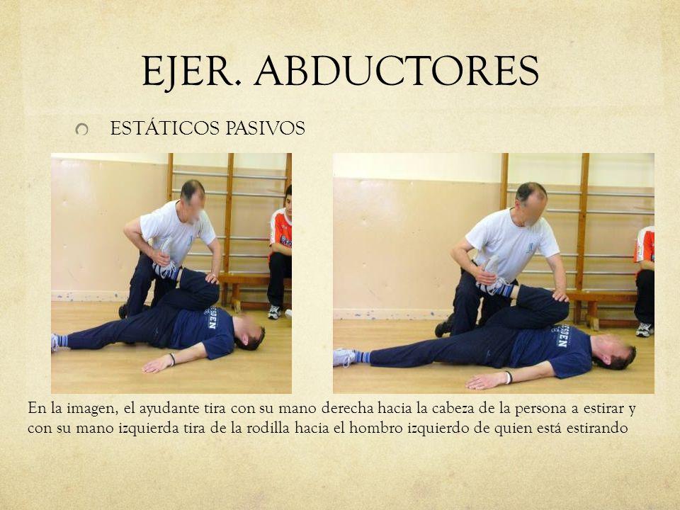 EJER. ABDUCTORES ESTÁTICOS PASIVOS En la imagen, el ayudante tira con su mano derecha hacia la cabeza de la persona a estirar y con su mano izquierda