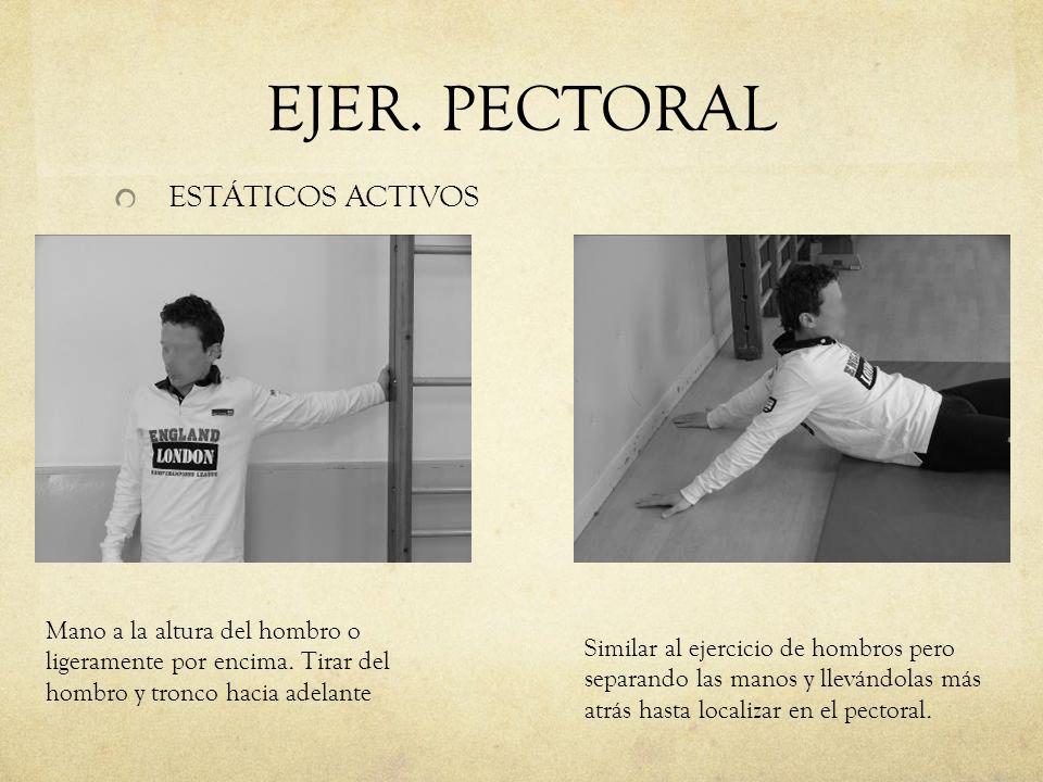 EJER. PECTORAL ESTÁTICOS ACTIVOS Mano a la altura del hombro o ligeramente por encima. Tirar del hombro y tronco hacia adelante Similar al ejercicio d