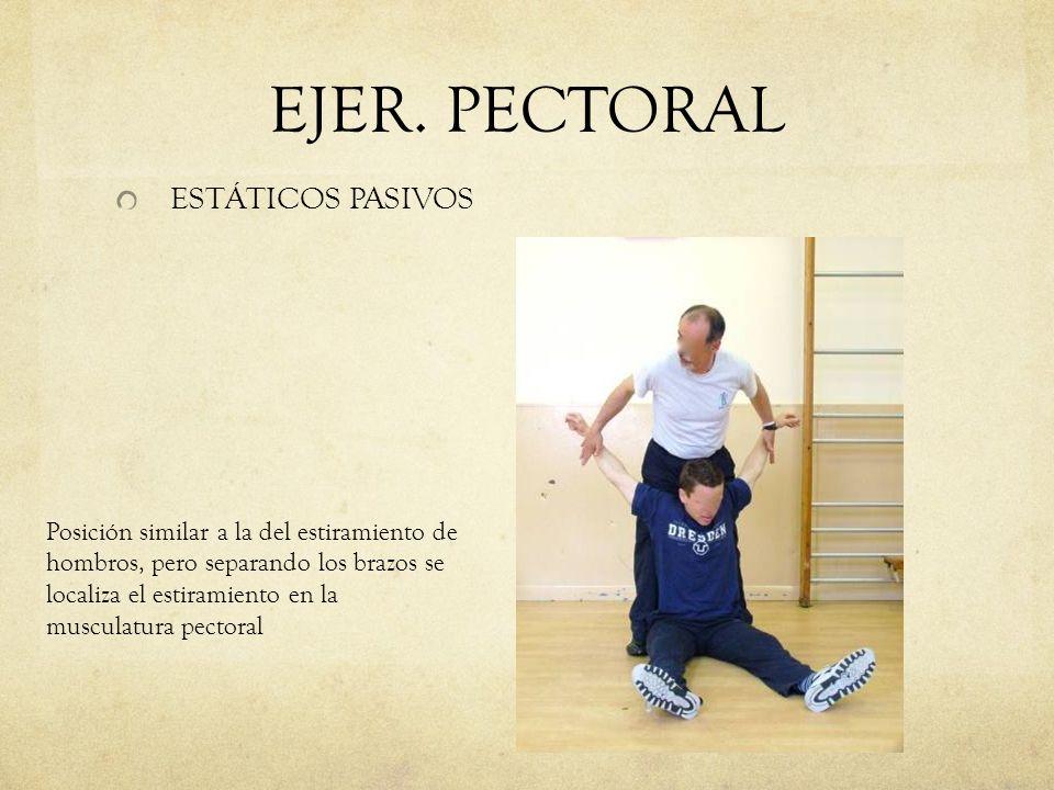 EJER. PECTORAL ESTÁTICOS PASIVOS Posición similar a la del estiramiento de hombros, pero separando los brazos se localiza el estiramiento en la muscul