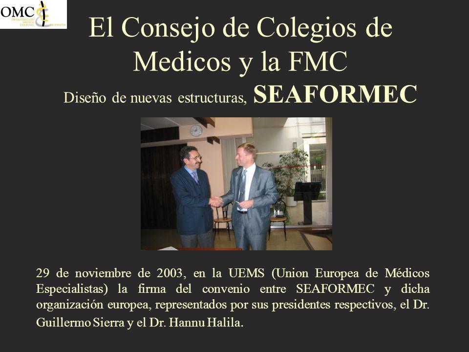 El Consejo de Colegios de Medicos y la FMC Diseño de nuevas estructuras, SEAFORMEC 29 de noviembre de 2003, en la UEMS (Union Europea de Médicos Espec