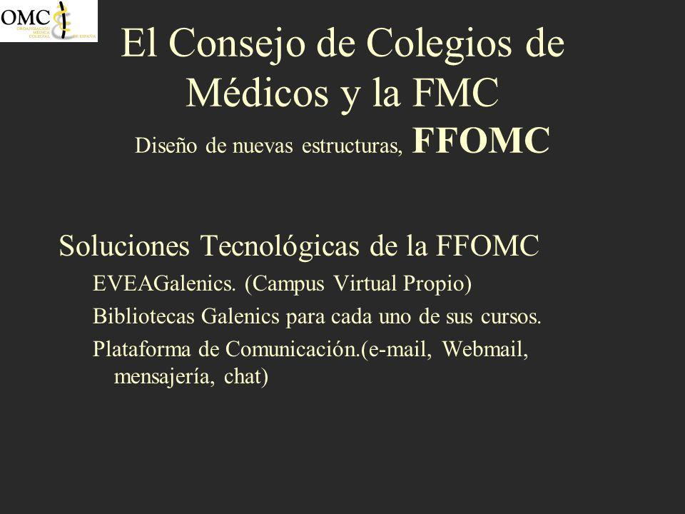 El Consejo de Colegios de Médicos y la FMC Diseño de nuevas estructuras, FFOMC Soluciones Tecnológicas de la FFOMC EVEAGalenics. (Campus Virtual Propi