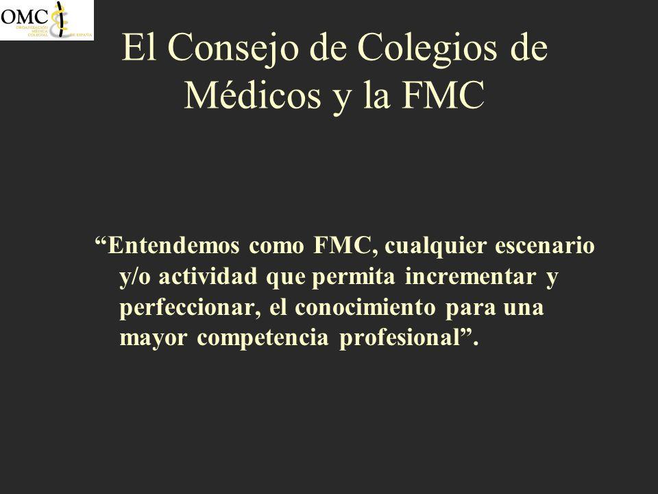 El Consejo de Colegios de Médicos y la FMC Entendemos como FMC, cualquier escenario y/o actividad que permita incrementar y perfeccionar, el conocimie