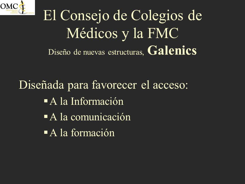 El Consejo de Colegios de Médicos y la FMC Diseño de nuevas estructuras, Galenics Diseñada para favorecer el acceso: A la Información A la comunicació