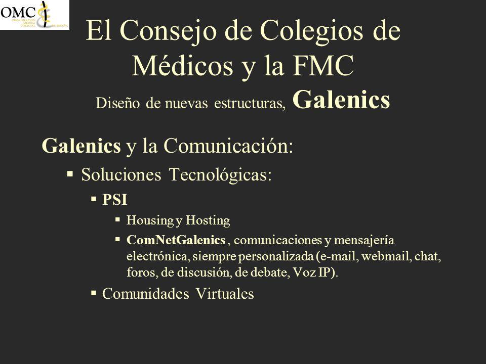 El Consejo de Colegios de Médicos y la FMC Diseño de nuevas estructuras, Galenics Galenics y la Comunicación: Soluciones Tecnológicas: PSI Housing y H