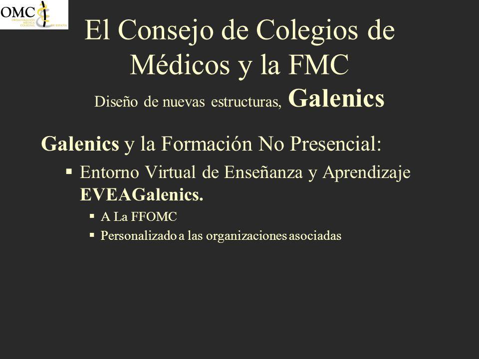 El Consejo de Colegios de Médicos y la FMC Diseño de nuevas estructuras, Galenics Galenics y la Formación No Presencial: Entorno Virtual de Enseñanza