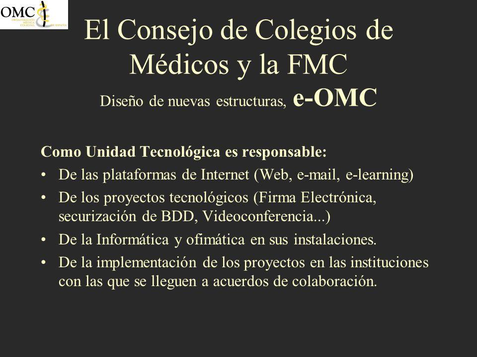 El Consejo de Colegios de Médicos y la FMC Diseño de nuevas estructuras, e-OMC Como Unidad Tecnológica es responsable: De las plataformas de Internet