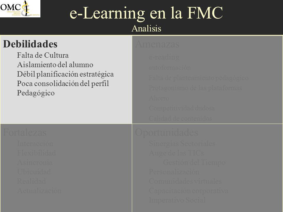 e-Learning en la FMC Analisis Debilidades Falta de Cultura Aislamiento del alumno Débil planificación estratégica Poca consolidación del perfil Pedagó