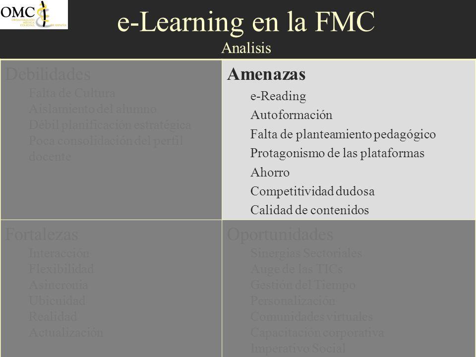 e-Learning en la FMC Analisis Debilidades Falta de Cultura Aislamiento del alumno Débil planificación estratégica Poca consolidación del perfil docent