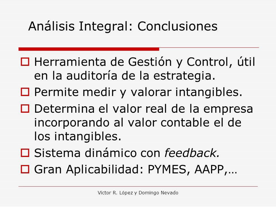 Víctor R. López y Domingo Nevado Análisis Integral: Conclusiones Herramienta de Gestión y Control, útil en la auditoría de la estrategia. Permite medi