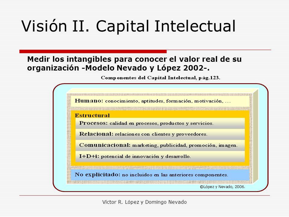 Víctor R. López y Domingo Nevado Visión II. Capital Intelectual Medir los intangibles para conocer el valor real de su organización -Modelo Nevado y L