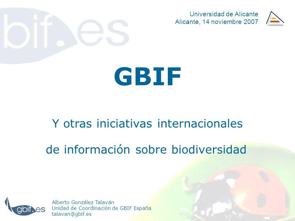 GBIF España 35/42 Implantación en España España firma el MoU plan de actuación abril 2001 resolución del MCYT sesiones informativas trabajos iniciales GBIF.ES UdC, arranca febrero 2001 invierno 2002 otoño 2002 julio 2002 julio 2003