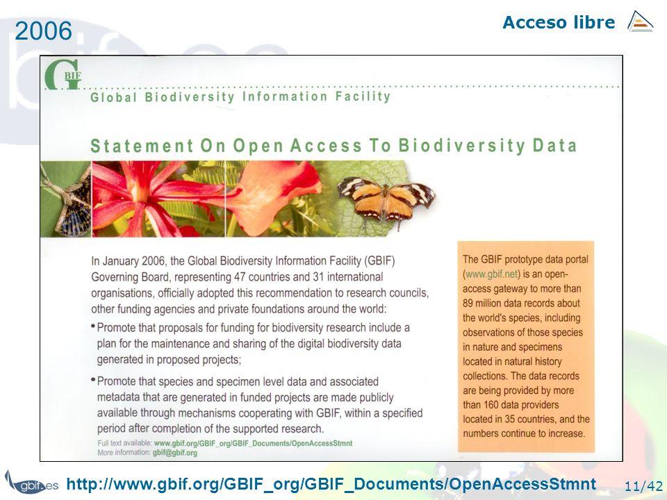 Acceso libre 11/42 2006 http://www.gbif.org/GBIF_org/GBIF_Documents/OpenAccessStmnt