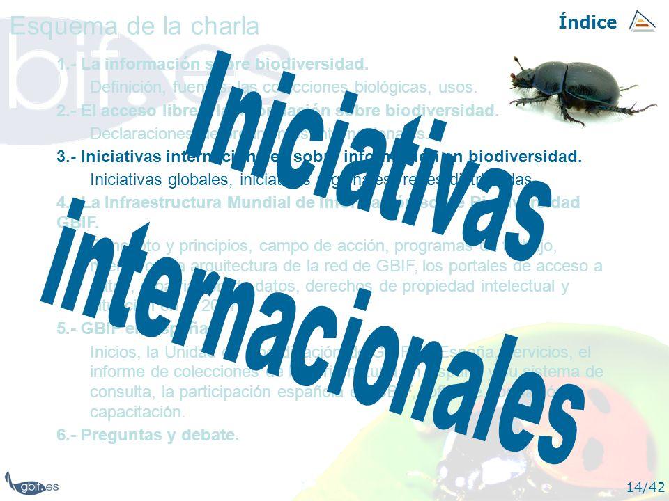 Índice 14/42 1.- La información sobre biodiversidad. Definición, fuentes, las colecciones biológicas, usos. 2.- El acceso libre a la información sobre
