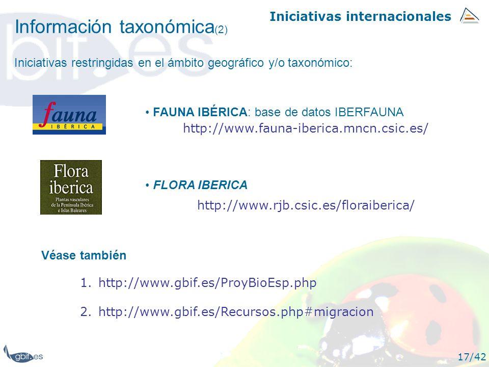 Iniciativas internacionales 17/42 Información taxonómica (2) FAUNA IBÉRICA: base de datos IBERFAUNA http://www.fauna-iberica.mncn.csic.es/ FLORA IBERI