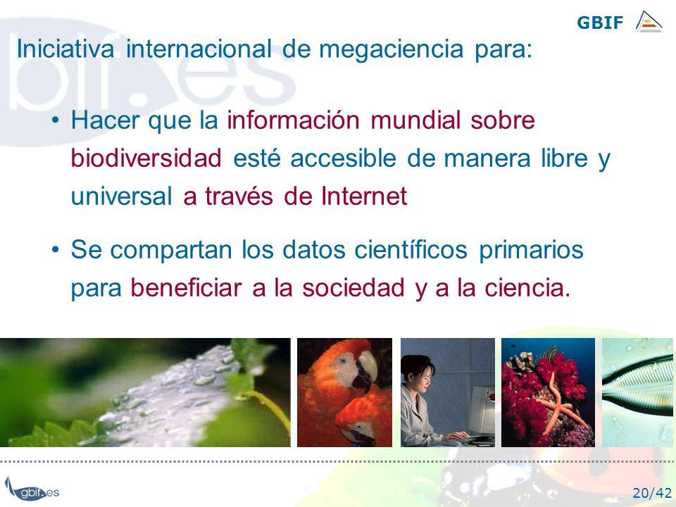 GBIF 20/42 Hacer que la información mundial sobre biodiversidad esté accesible de manera libre y universal a través de Internet Se compartan los datos