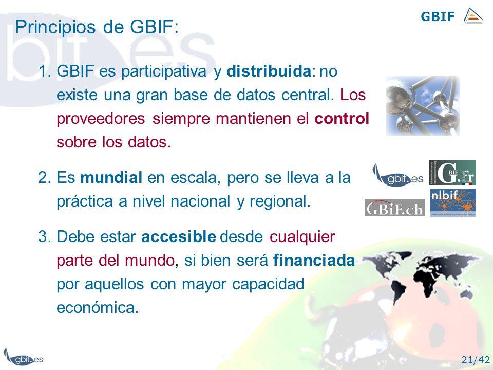 GBIF 21/42 Principios de GBIF: 1.GBIF es participativa y distribuida: no existe una gran base de datos central. Los proveedores siempre mantienen el c