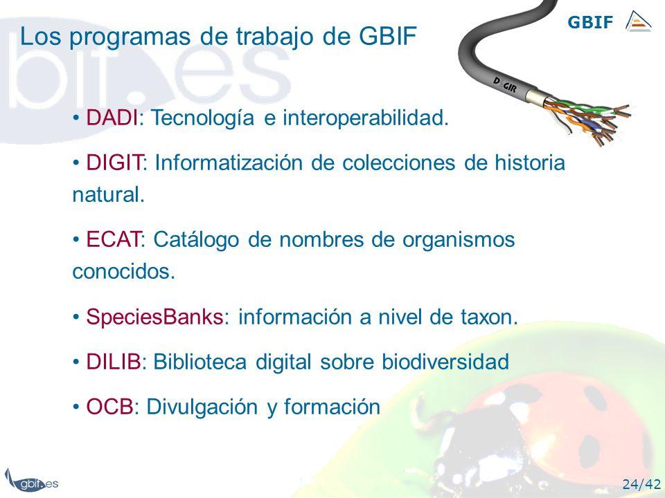 GBIF 24/42 Los programas de trabajo de GBIF DADI: Tecnología e interoperabilidad. DIGIT: Informatización de colecciones de historia natural. ECAT: Cat