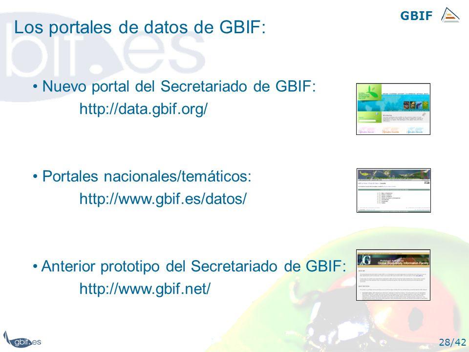 GBIF 28/42 Los portales de datos de GBIF: Nuevo portal del Secretariado de GBIF: http://data.gbif.org/ Portales nacionales/temáticos: http://www.gbif.
